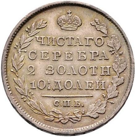 Полтина 1825 – Полтина 1825 года СПБ-ПД. Корона широкая